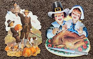 Vintage Eureka Thanksgiving Pilgrim Diecut Cardboard Paper Window Wall Decor USA
