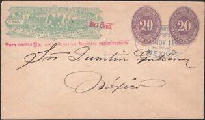 MEXICO, 1892. Wells Fargo Express H&G 19a, 20+20, Mexico City Local