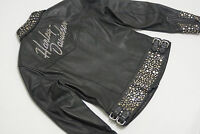 Harley Davidson Womens BLING Silver Metal Studs Leather Jacket 97036-05VW M
