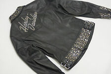 Harley Davidson Womens BLING Silver Metal Studs Leather Jacket 97036-05VW S
