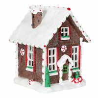 Candy House Light Up Christmas Decoration Resin Ornament LED Snow 18.5cm