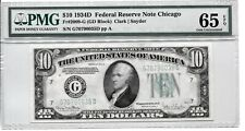 FR 2009-G 1934D $10 FEDERAL RESERVE NOTE PMG 65EPQ