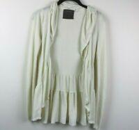 Guinevere Womens Cardigan Long Sleeve Open Front Ruffles White Size XS EUC