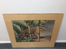 SHIRRELL GRAVES WATERCOLOR AIRBRUSH  TIGER LISTED CALIFORNIA ARTIST SIGNED