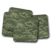 4 Set - Pixel Camouflage Drinks Coaster - Camo Army RAF Green Kids Gift #8443