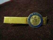 "CITY of PLANTATION Broward County Florida Gold Plate & Blue Enamel 2"" Tie Clip"