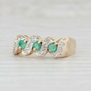 0.32ctw Emerald Diamond Ring 14k Yellow Gold 3-Stone Size 8.25 Stackable