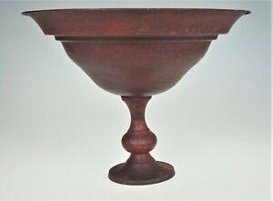 Metal Pedestal Flower Floral Arrangement Bowl Chalice Burgundy Color