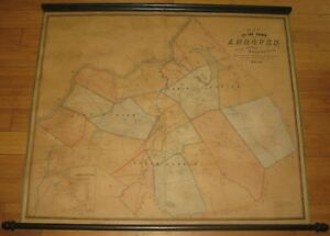 RARE Antique 1852 Henry Walling Town of ANDOVER MASSACHUSETTS Wall MAP
