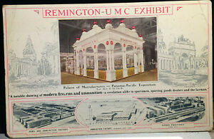 Remington U M C Exhibit, PPIE EXPO, Post Card 1915 SAN FRANCISCO, Arms Factory
