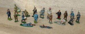 lot de 18 anciens  soldats métal peint, 14-18 / 39-45 quiralu?