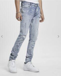 KSUBI Men's Van Winkle Trashed Dreams Skinny Fit Jeans Blue Size 32 $220 NEW