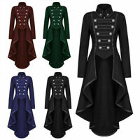 UK Women Gothic Long Tuxedo Steampunk Victorian Swallow Retro Party Coat Jacket
