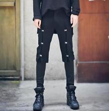 Chic Mens Gothic Button Slim Skinny Pants Nightclub Harem Punk Black Trousers