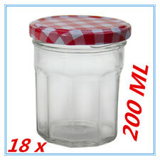 18 X SMALL CONSERVE PRESERVING JAM CANDY JAR JARS PATTER RED WHITE LID 200ML AP