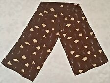 SCARF VINTAGE AUTHENTIC ESKIMOS ART BROWN SILK LONG MEN'S