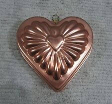 Old Copper Tone Aluminum Wall Hanging Food Jello Mold Heart Shaped FREE S/H