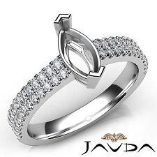 Prong Setting Marquise Diamond Semi Mount Engagement Ring 18k White Gold 0.5Ct