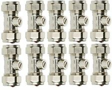 10 x 15MM WATER PLUMBING ISOLATOR VALVE CHROME PLATED COMPRESSION **BRAND NEW**