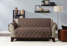 Sure Fit Reversible Flannel and Sherpa Loveseat Furniture Cover in Chocolate