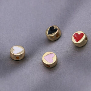 10Pc Gold Heart Round Copper Loose Spacer Beads Jewelry Making Bracelet DIY 8mm