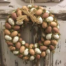 Speckled Hen Egg Easter Wreath Earth Tones Gisela Graham Door Moss Vintage Faux