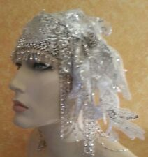Silver Gatsby 20's Waterfall Bead Lace Crystal Flapper Headpiece Hat Bridal