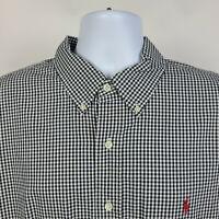 Ralph  Lauren  Black Gingham Check Mens Dress Button Shirt Size 2XL XXL