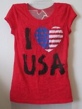 Juniors 3/5 S Rocker Girl Red Slub Burnout I Love Usa American T-Shirt Top Flag