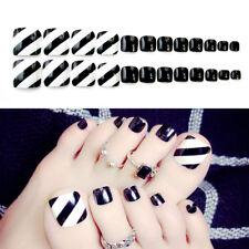 24 Pcs D'été Pied Faux Ongles Conseils Noir Faux Orteils Ongles Stripe Toe Art