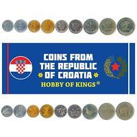 SET OF 9 COINS FROM CROATIA. 1, 2, 5, 10, 20, 50 LIPA, 1, 2, 5 KUNA. 1993-2019