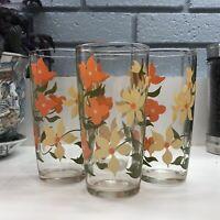Set of 4 Vintage Tumblers Drinking Glasses Floral Flowers