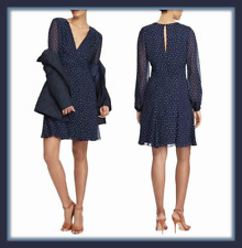 Polo Ralph Lauren Navy Silk Long Sleeve Fit and Flare Dress size 16 18 UK USA 14