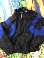 Vintage Reebok Color Block Windbreaker Size Large Track Jacket Black Blue