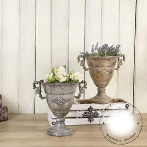 Pokal Vase 24 cm Blumenvase Antik Metall Vintage Amphoren Retro Design LN52-11