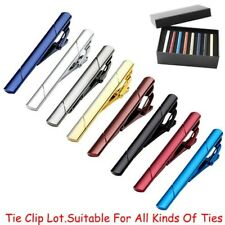 8PCS Set Slim Skinny Regular Ties Necktie Clasp Mens Tie Clip Bar Father's Day