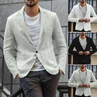 Fashion Men Casual Jacket Slim Fit Coat Suit Blazer Outwear Cotton Linen Tops US