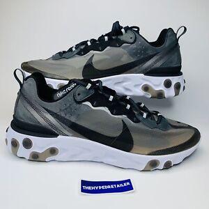 NIKE REACT ELEMENT 87 Anthracite/Black/White Running Shoes Mens Sz 15 AQ1090-001