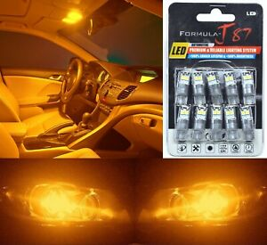 LED 3030 Light Orange Amber 168 Ten Bulbs Interior Dome Replacement Upgrade Lamp