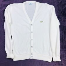 Izod Lacoste Men's Small Sweater Cardigan White Vintage V-Neck Button Front
