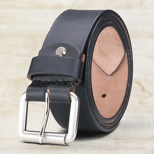 Mens Leather Belt Belts Strap Genuine with Solid Buckle Black Brown For Jeans UK