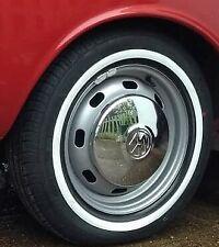 "14 "" Universal Classic Car Thin Band White Wall Tyre Trim Flaps Bay Window T25"