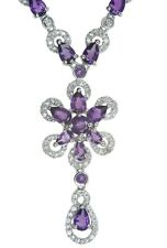 Amethyst Gemstone Flower Very Glamorous Sterling Silver Necklace