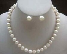 Exquisite 7-8MM White Cultured Pearl Necklace Earring Set