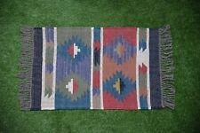 Hand loomed Rustic Indian Hand-woven Floor Kilim Wool Jute vintage Rugs 2x3-22
