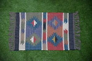 Hand loomed Rustic Indian Hand-woven Floor Kilim Wool Jute vintage Rugs 2x3-22