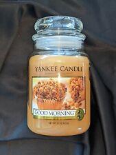 New 22oz Retired Good Morning Yankee Candle Original Large Jar White Label rare