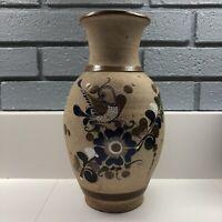 """Folk Art Tonala Mexican Pottery Hand Painted 11"""" Stoneware Bird Vase Mex"""
