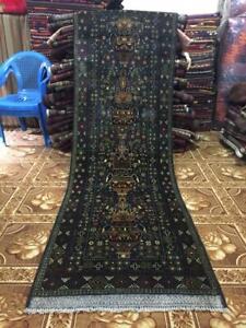 Vintage Handmade Afghan Tribal Zabuli  Wool Hallway Runner 2'11 x 9'4 feet