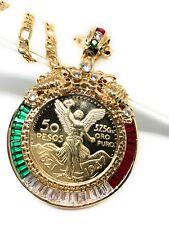 """14K Gold Plated* 50 Pesos Centenario Coin CZ Holder Pendant Scorpion 26"""""""